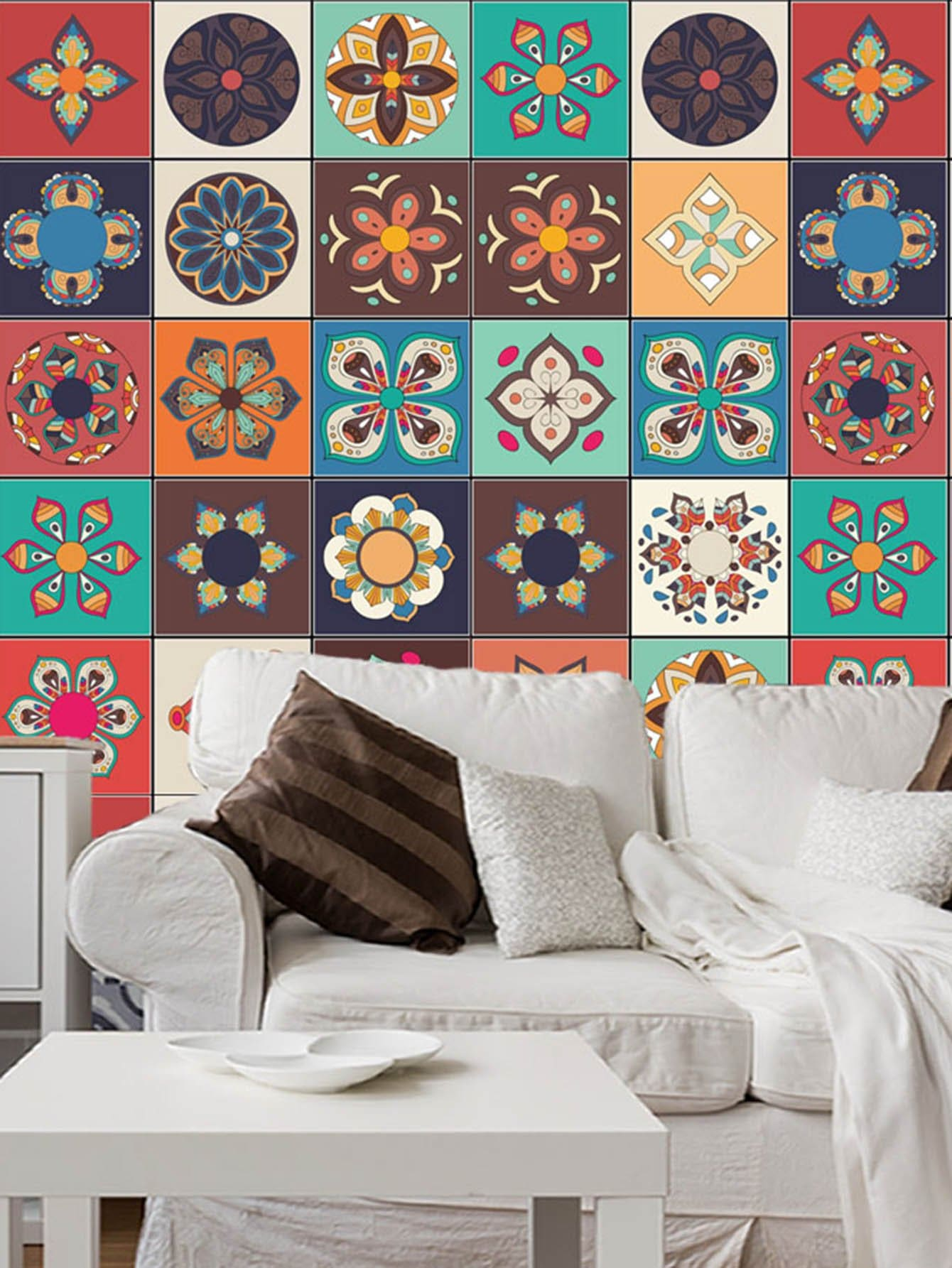 Random Abstract Flower Ceramic Tile Decal 1pc