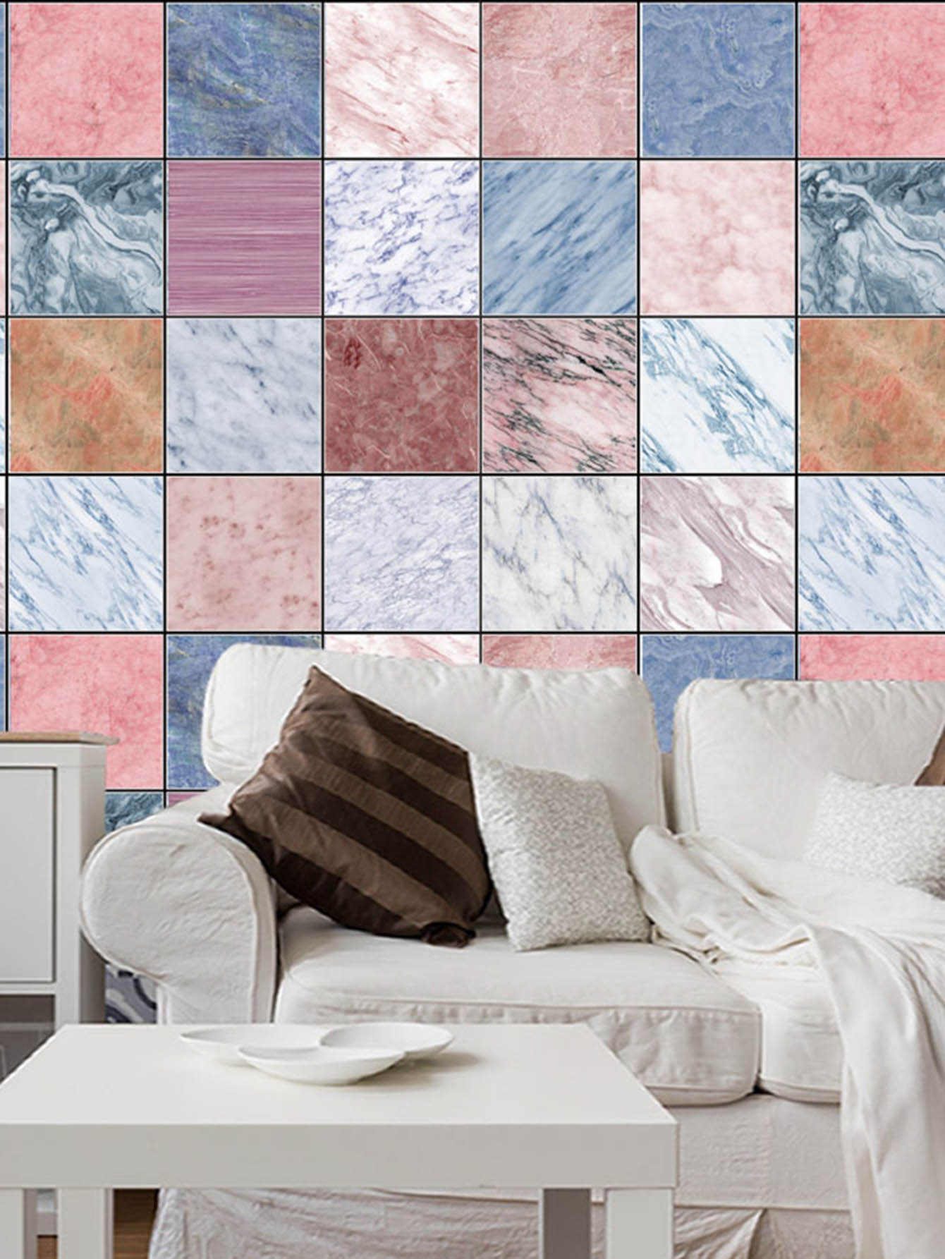 Random Marble Pattern Ceramic Tile Decal 1pc random stone spliced ceramic tile sticker 1pc