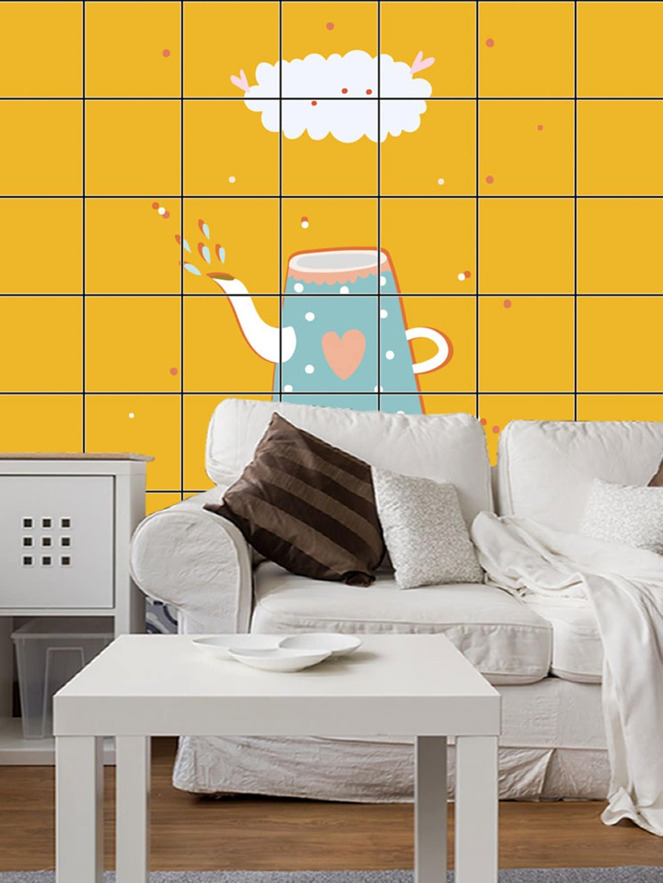 Cartoon Kettle Ceramic Tile Decal 5pcs
