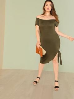 Plus Bardot Shirt Dress with Side Tie Detail