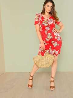 Plus Floral Print Short Sleeve Dress