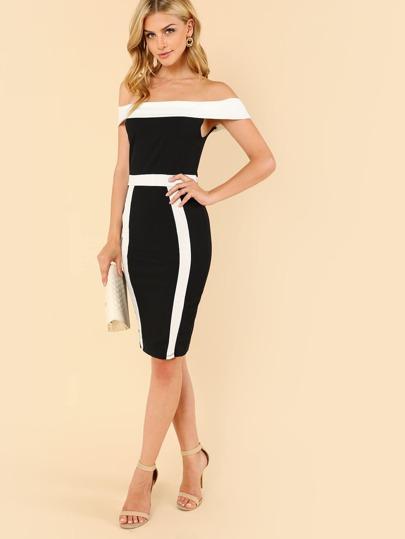 Color Block Bardot Sheath Dress