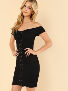 Off Shouder Smocked Lace Up Dress