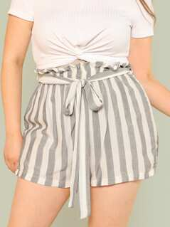 Plus Stripe Paper Bag Waist Shorts