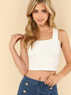 Ribbed Knit V-Strap Back Crop Top