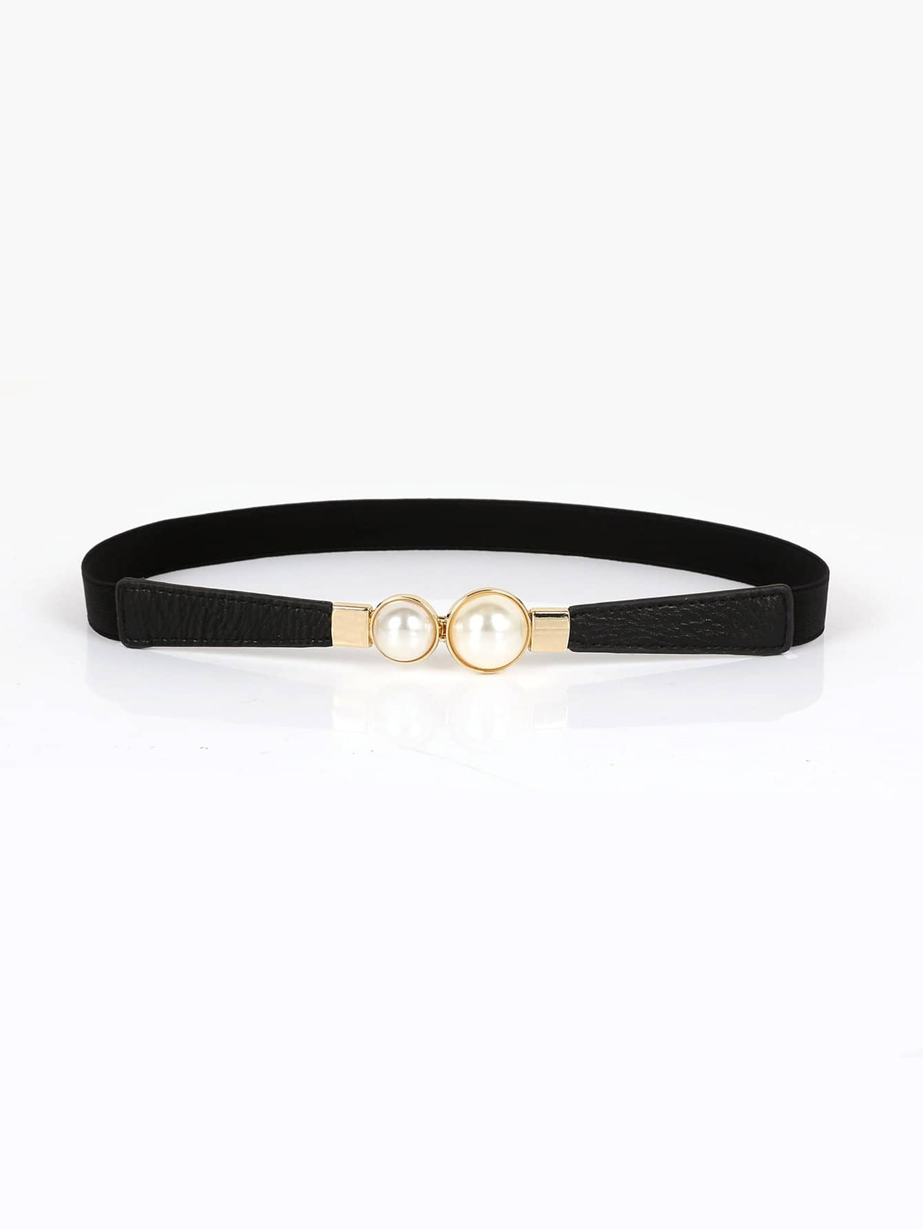 Faux Pearl Decorated Skinny Belt