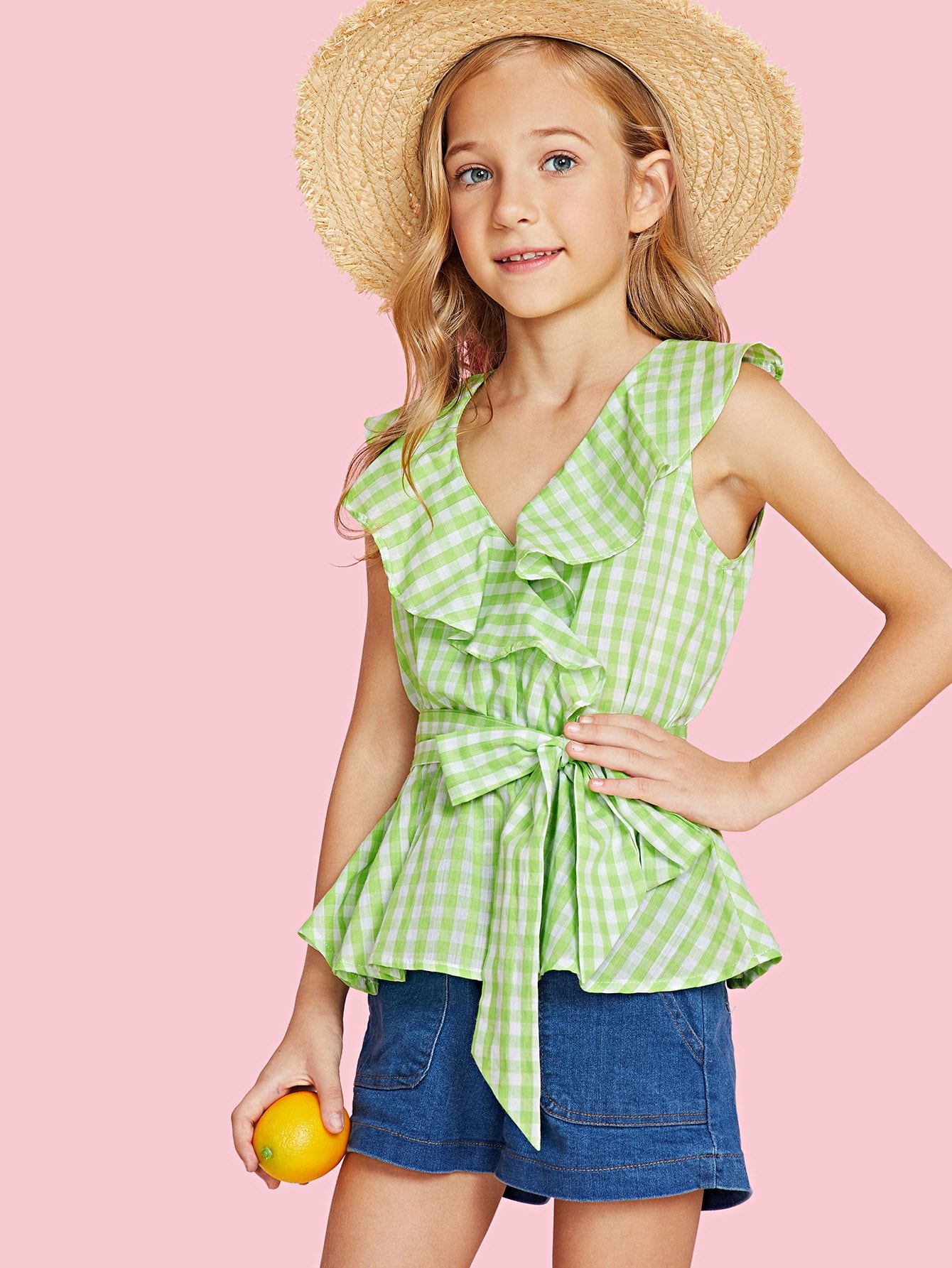 Ruffle Trim Belted Gingham Top ruffle trim gingham overall