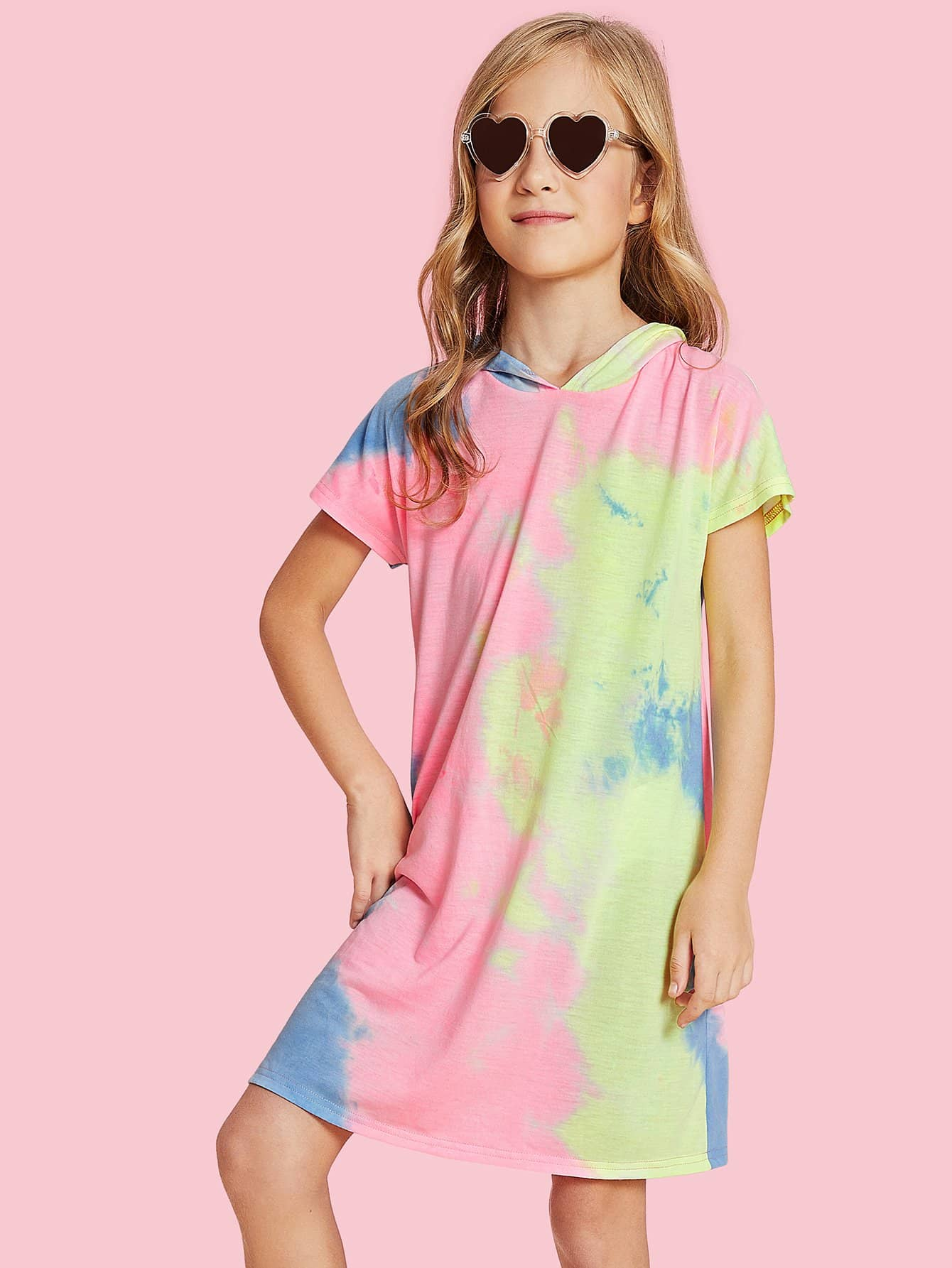 Pastel Tie Dye Hoodie Dress tie dye trim kangaroo pocket dress