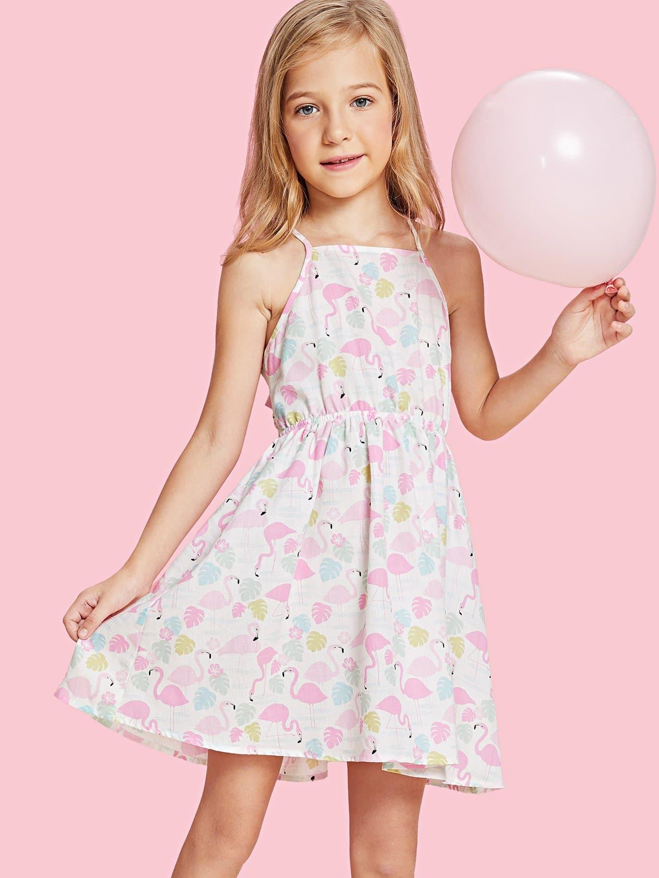 Купить Платье фламинго и эластичным поясом, null, SheIn