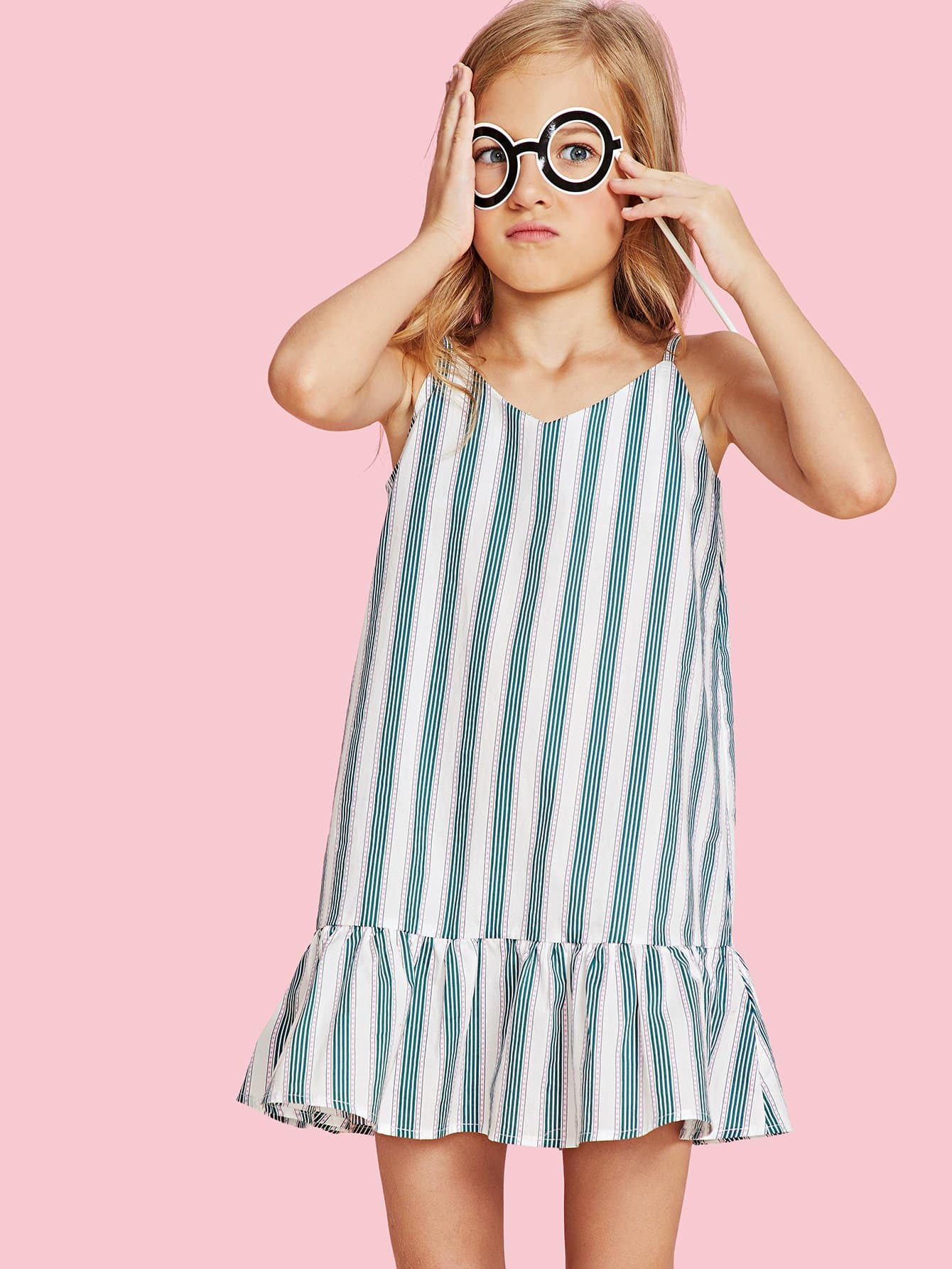 Flounce Hem Striped Cami Dress flounce hem belted pinstripe cami dress
