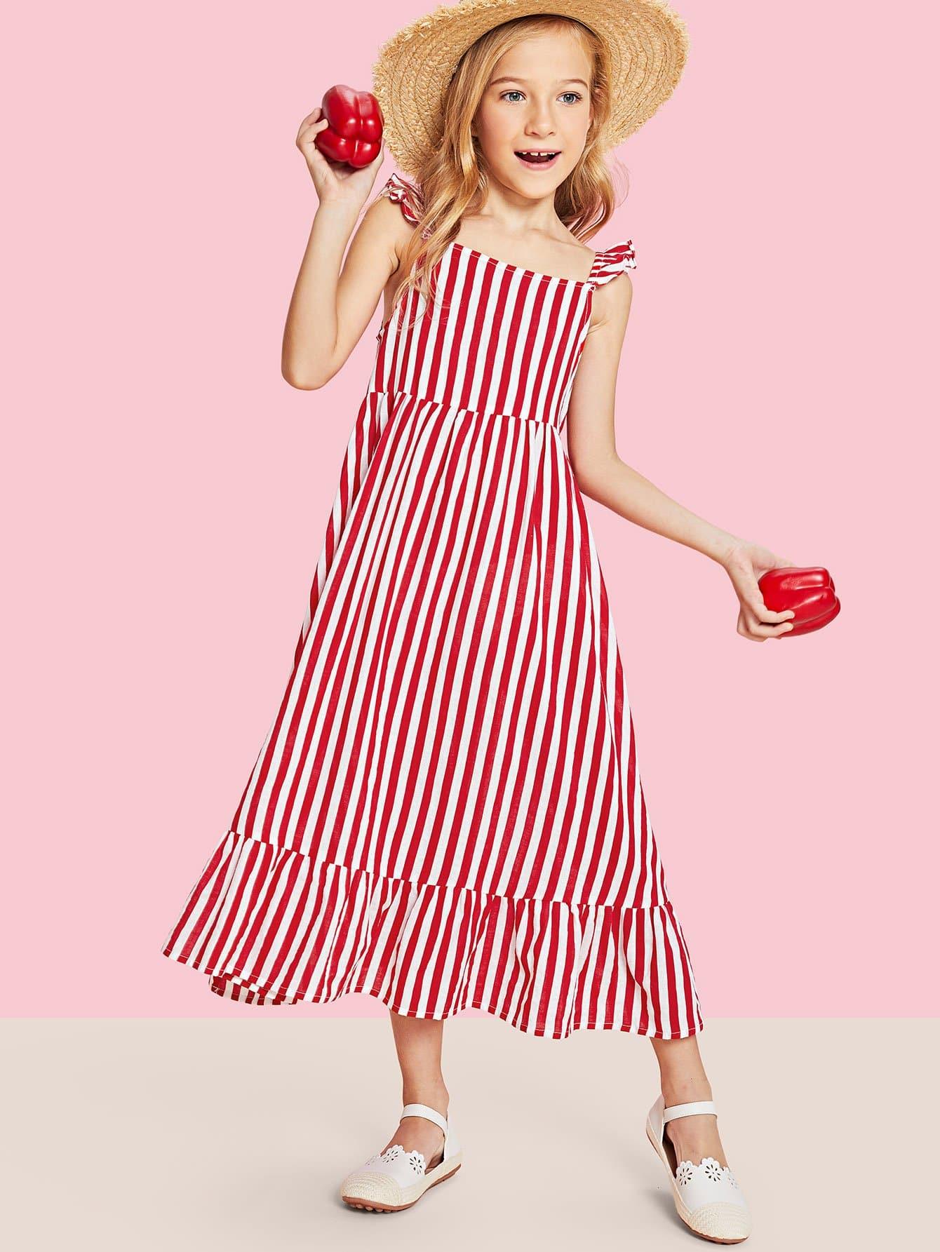 Girls Ruffle Strap and Hem Striped Dress ruffle strap and hem striped dress