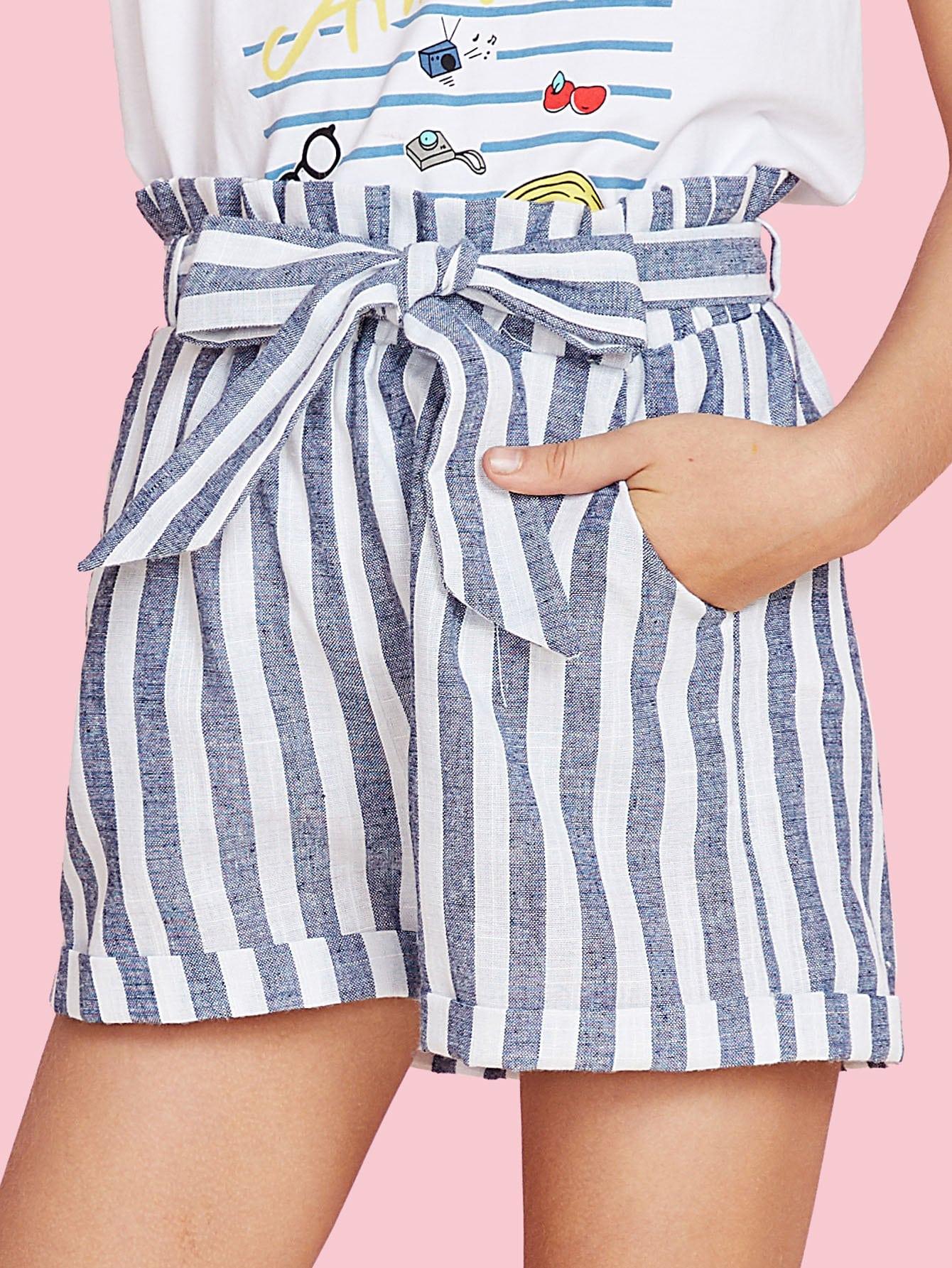 Self Tie Cuffed Hem Striped Shorts sweet wavy hem design striped shorts for women