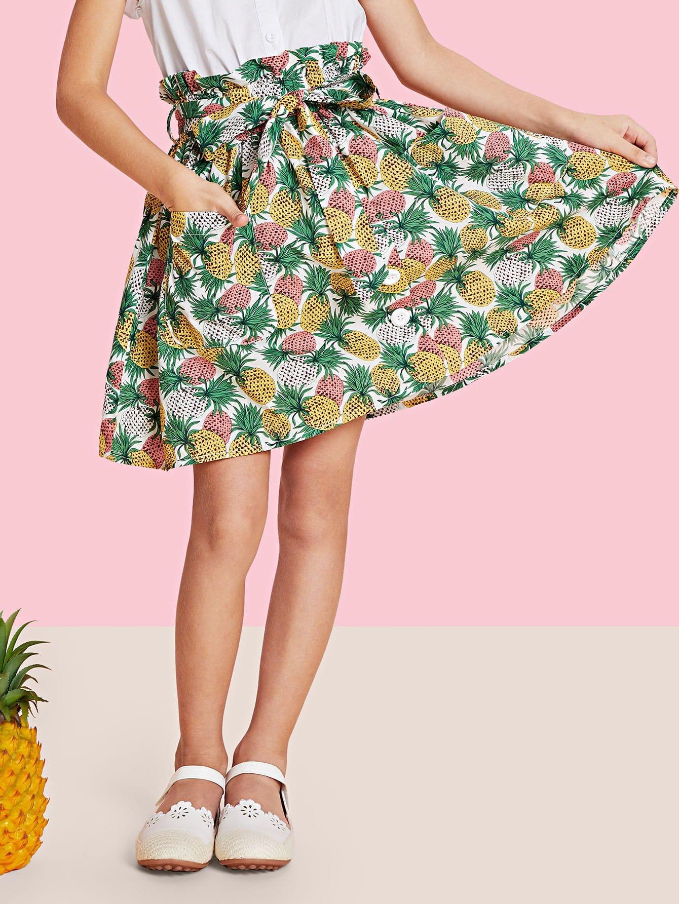Купить Юбка с пуговицами и принтом ананас, null, SheIn