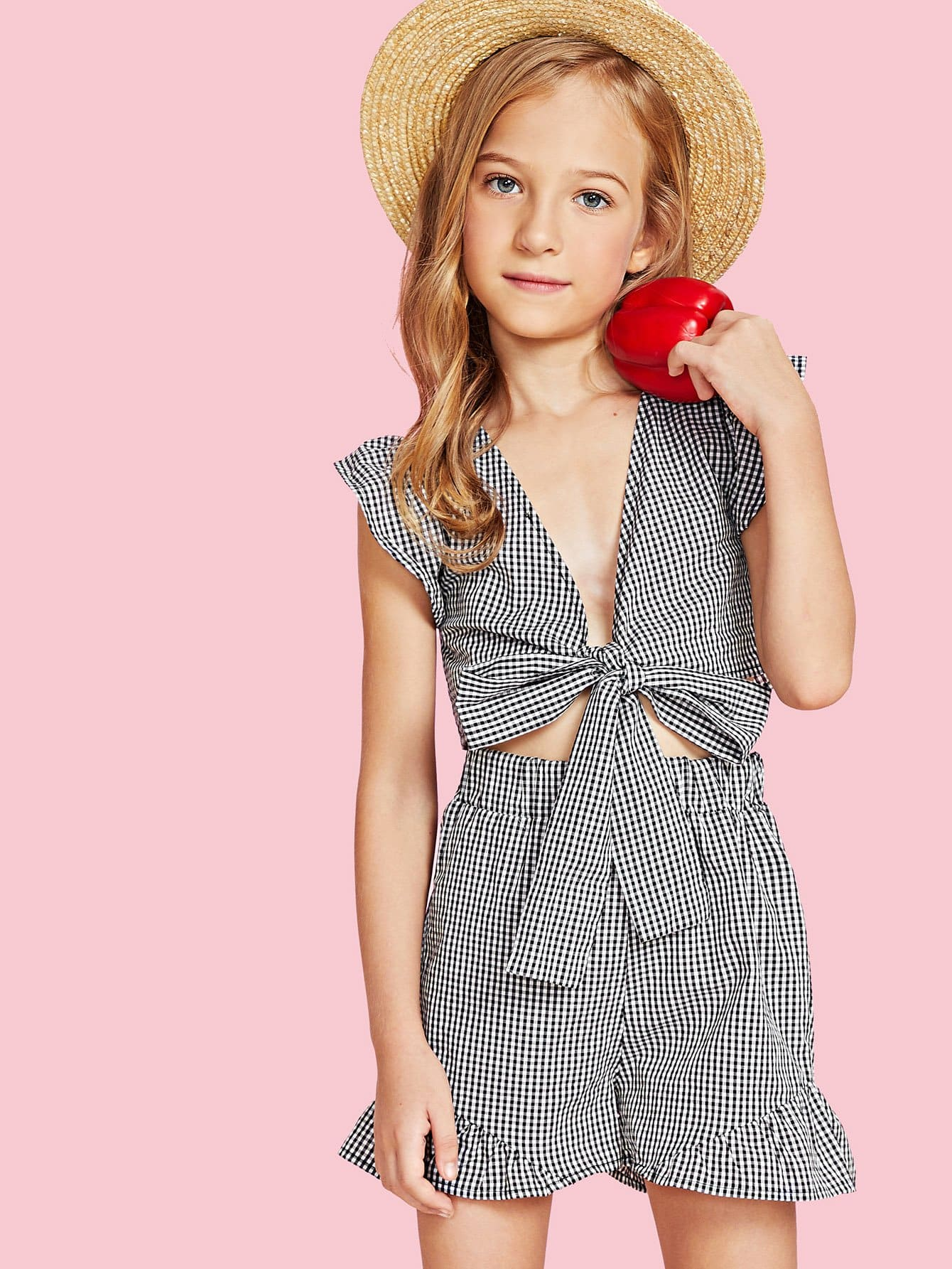 Knot Front Gingham Top & Shorts Set knot front gingham top