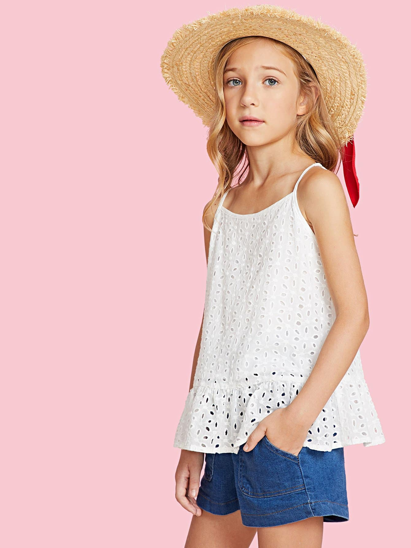 Eyelet Embroidered Ruffle Hem Cami Top ruffle waist zip back scallop hem embroidered gingham skirt