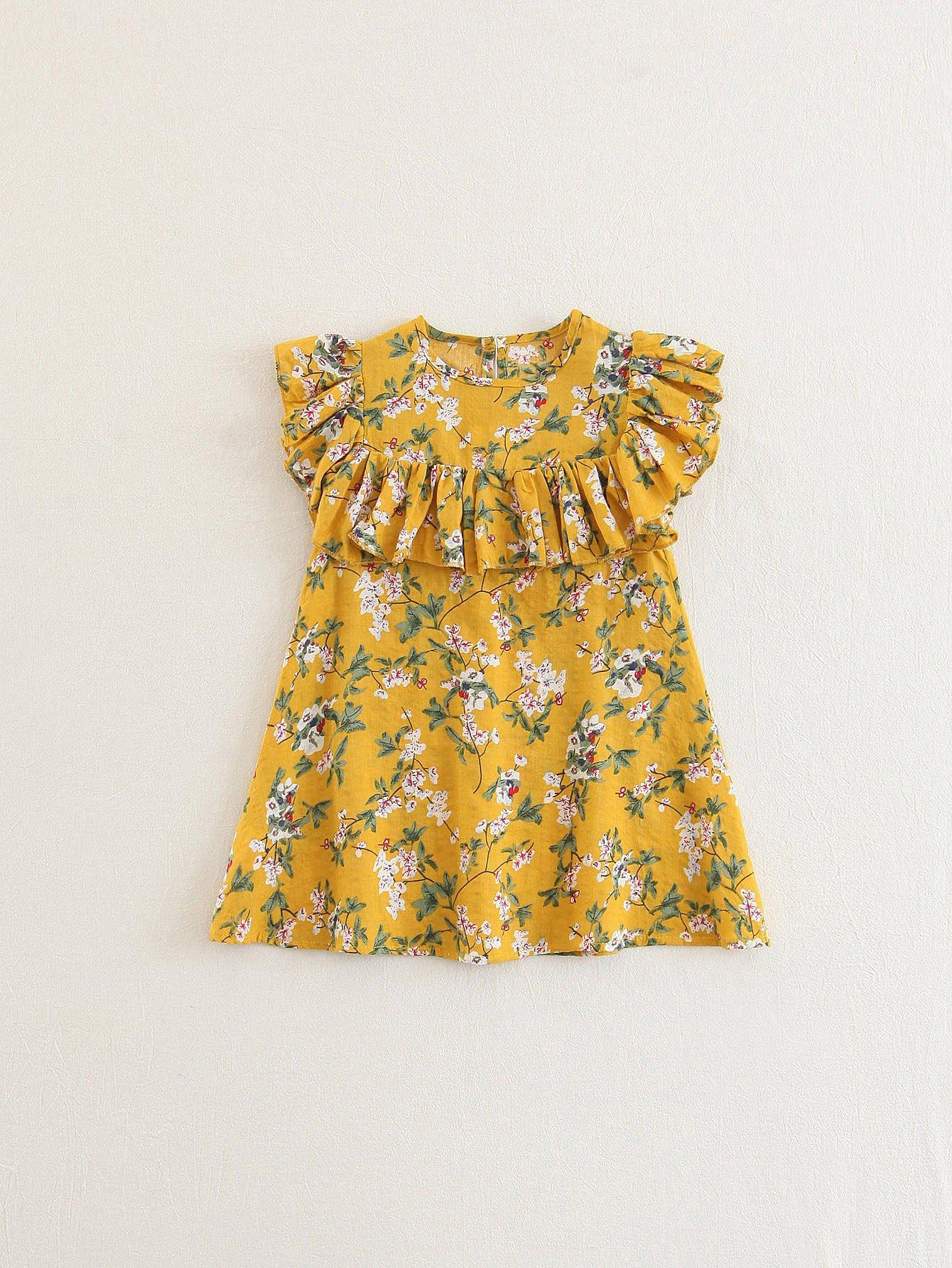 Купить Платье с оборками и принтом цветы, null, SheIn