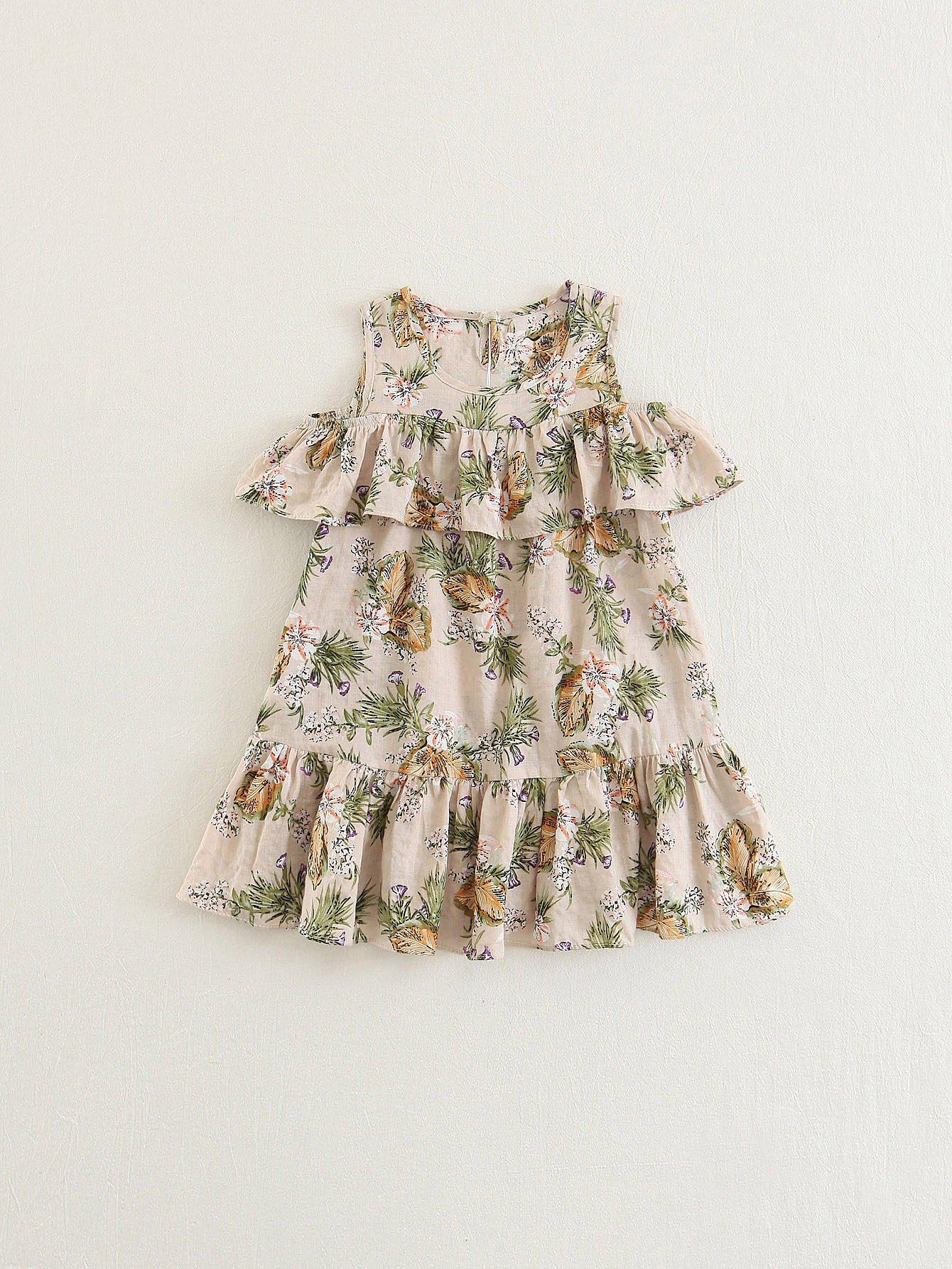 Girls Botanical Print Ruffle Trim Dress