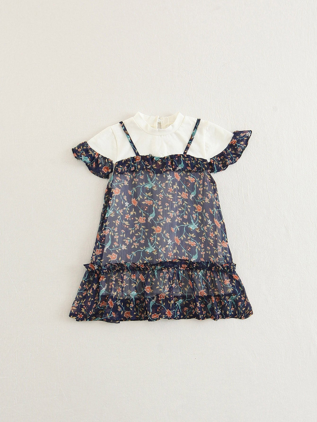 Girls Ditsy Print 2 In 1 Ruffle Dress