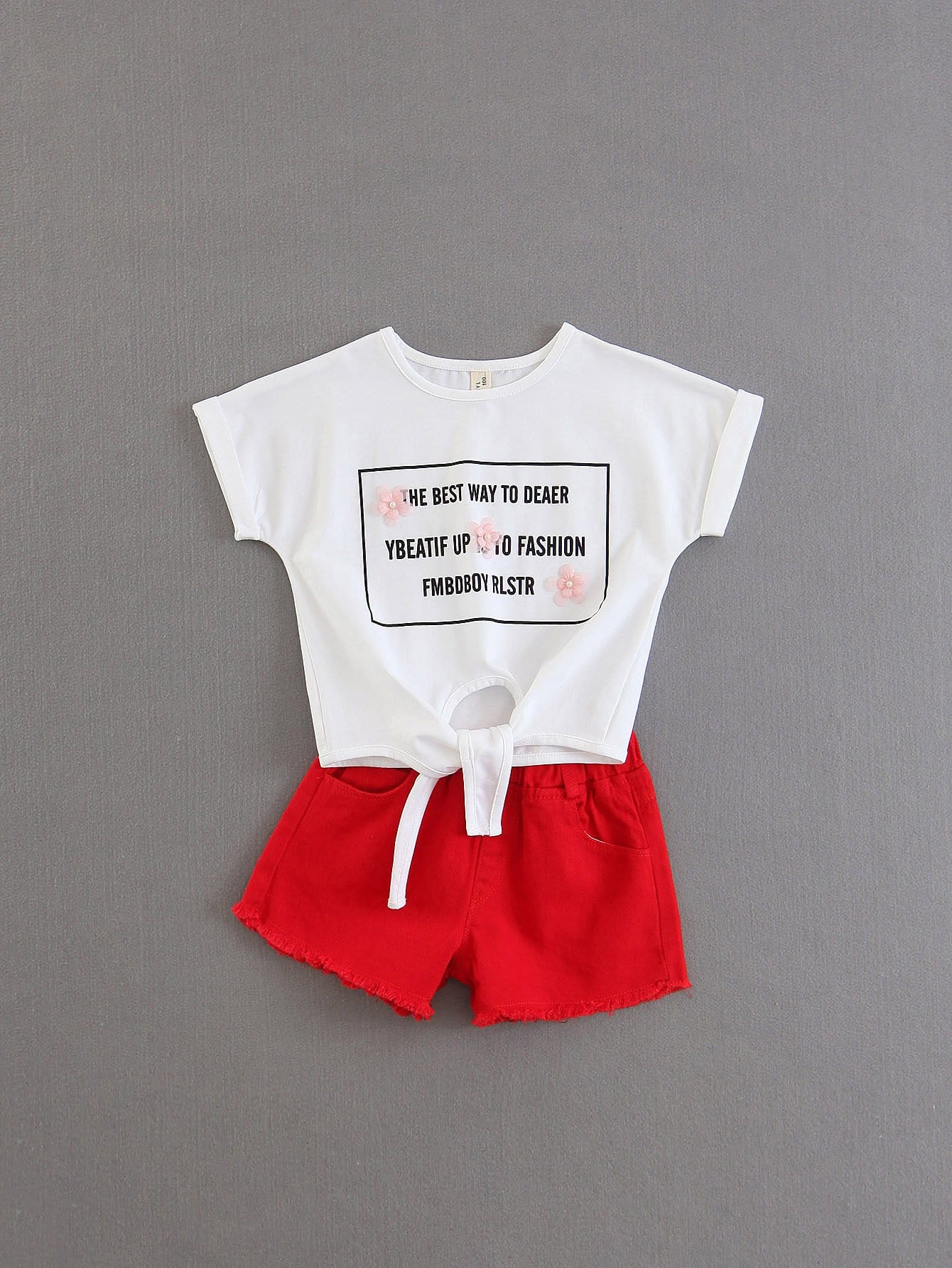Girls Slogan Print Knot Tee With Shorts