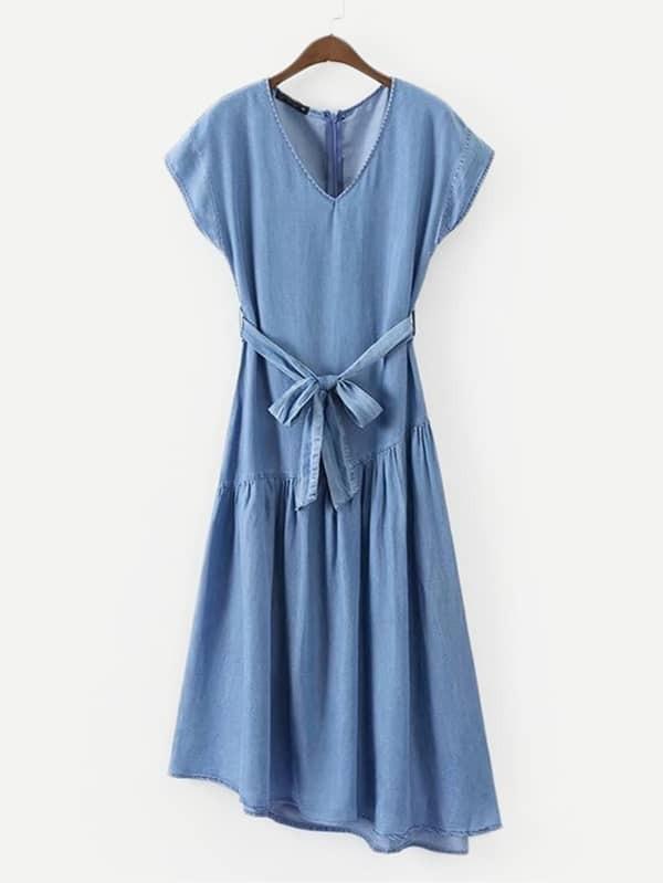 Self Tie Asymmetric Hem Denim Dress plus size self tie asymmetric bridesmaid wrap dress