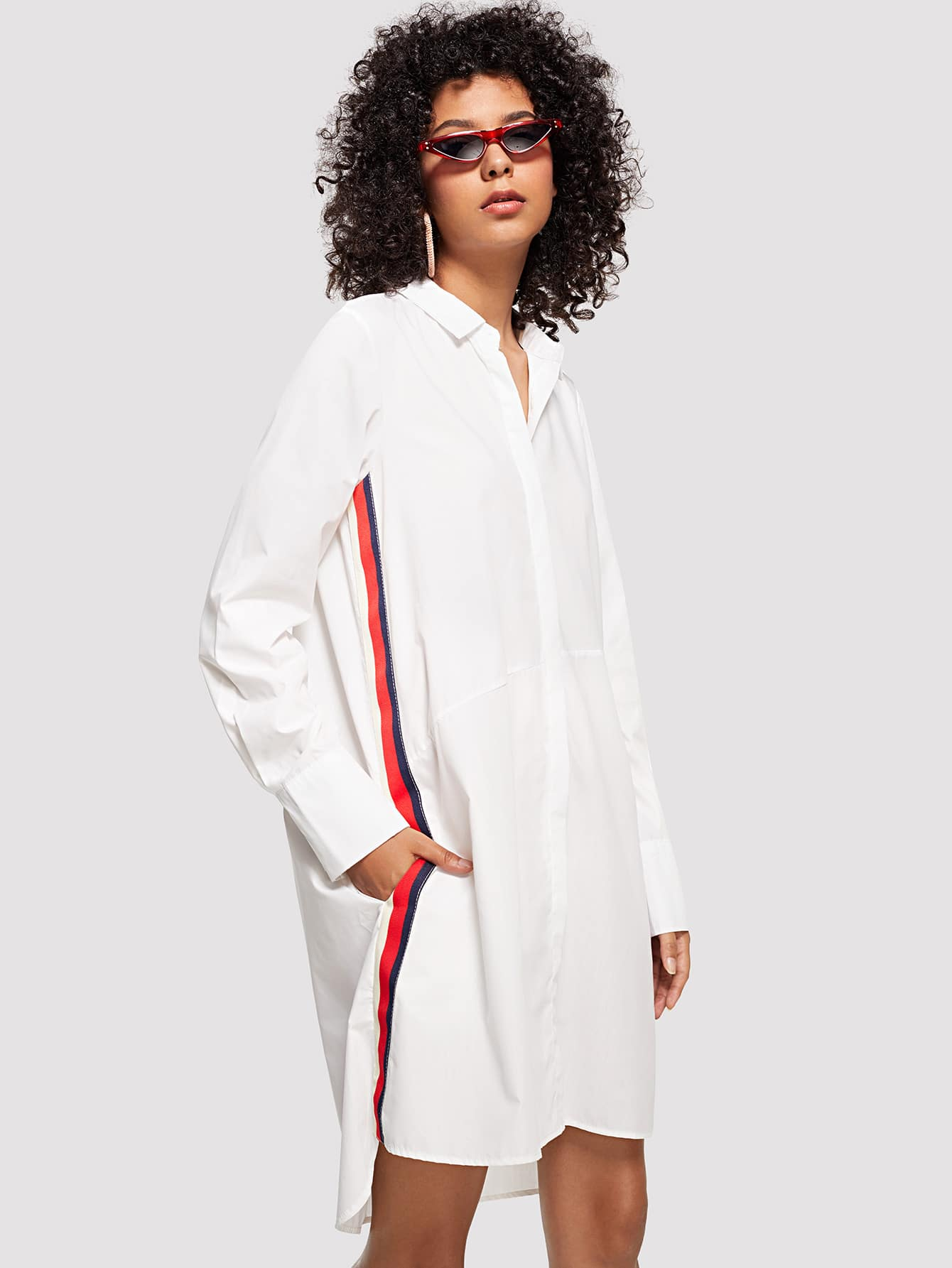 Striped Tape Side High Low Shirt Dress striped tape side cuffed pants
