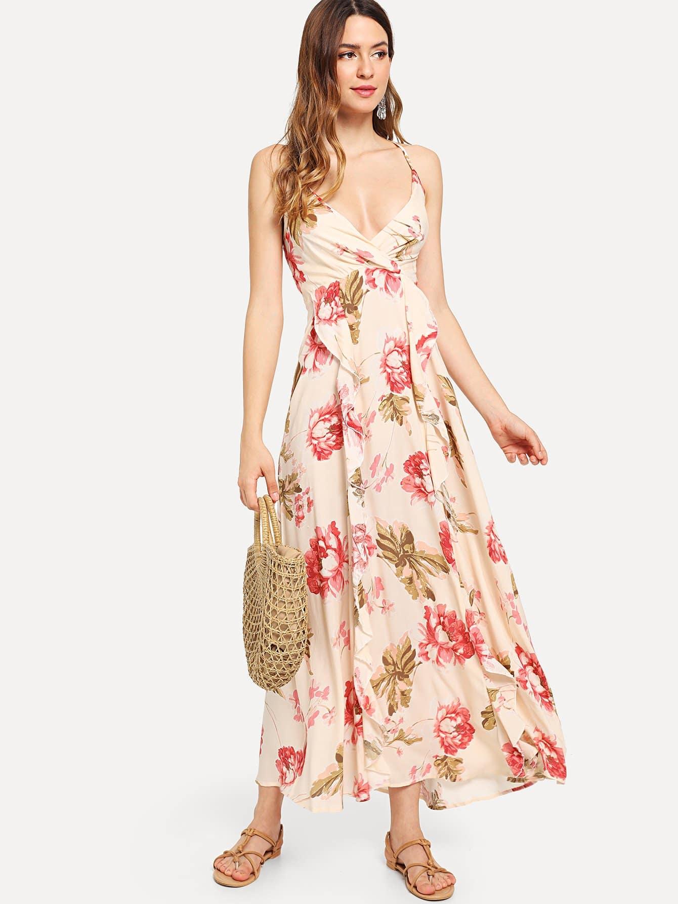 Criss Cross Open Back Ruffle Dress criss cross open back ruffle dress