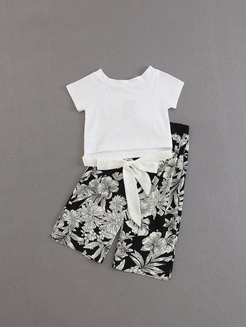Girls Knot Detail Tee With Florals Pants, Black and white