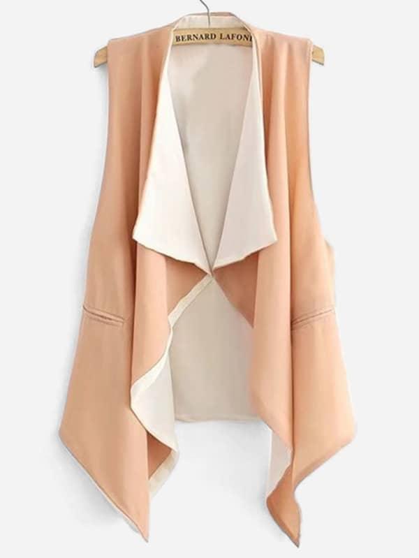 Draped Collar Sleeveless Coat draped collar sleeveless coat