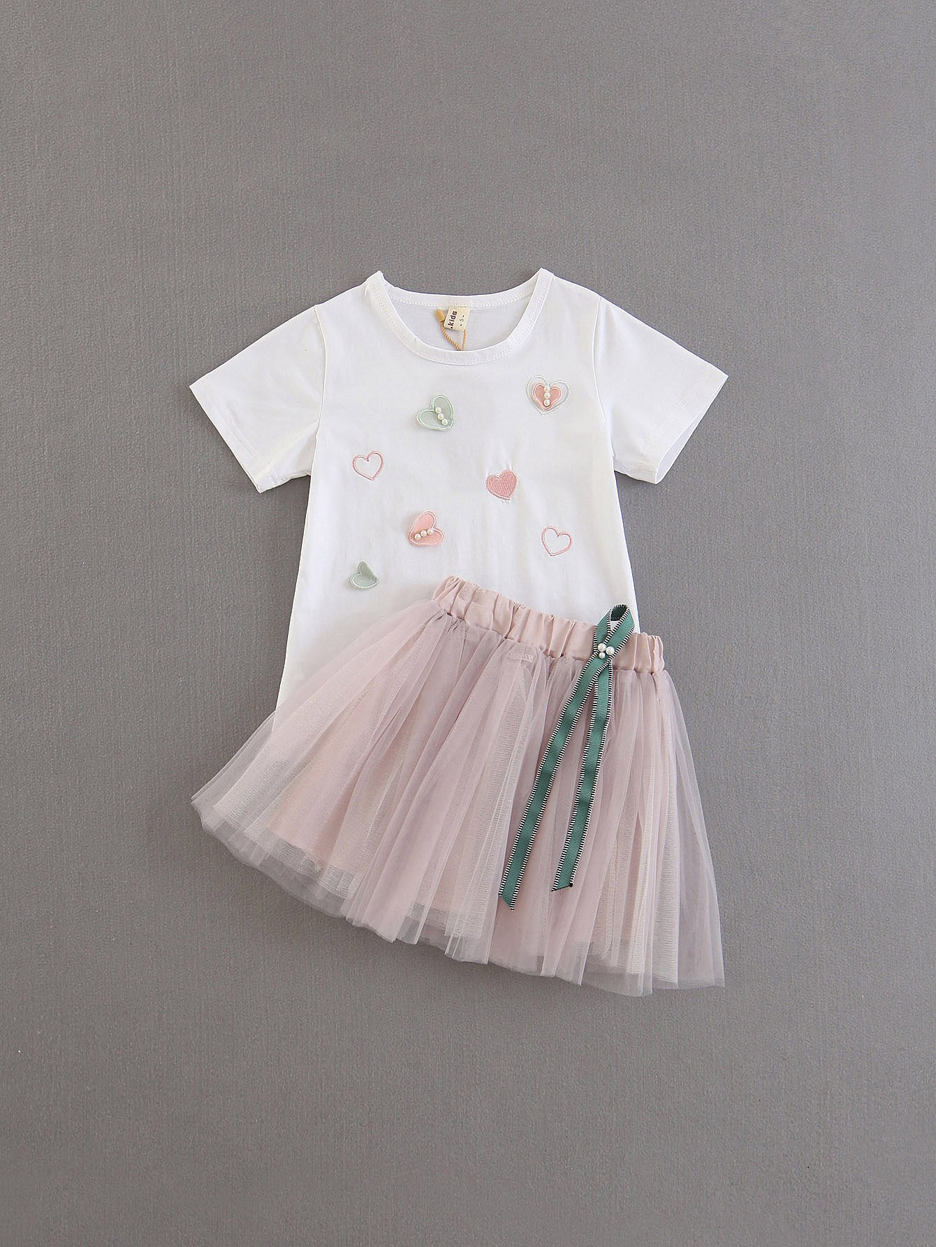 Girls Embroidered Tee With Mesh Skirt