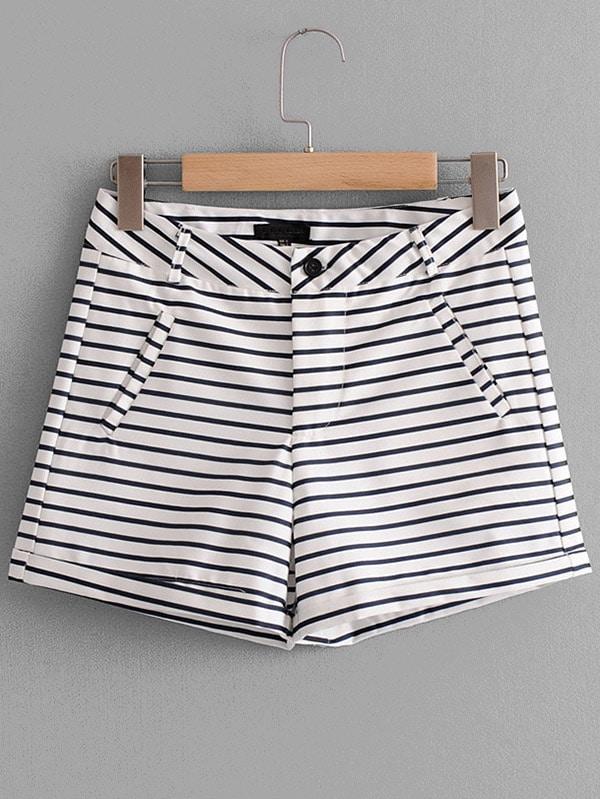 Striped Rolled Hem Shorts sweet wavy hem design striped shorts for women