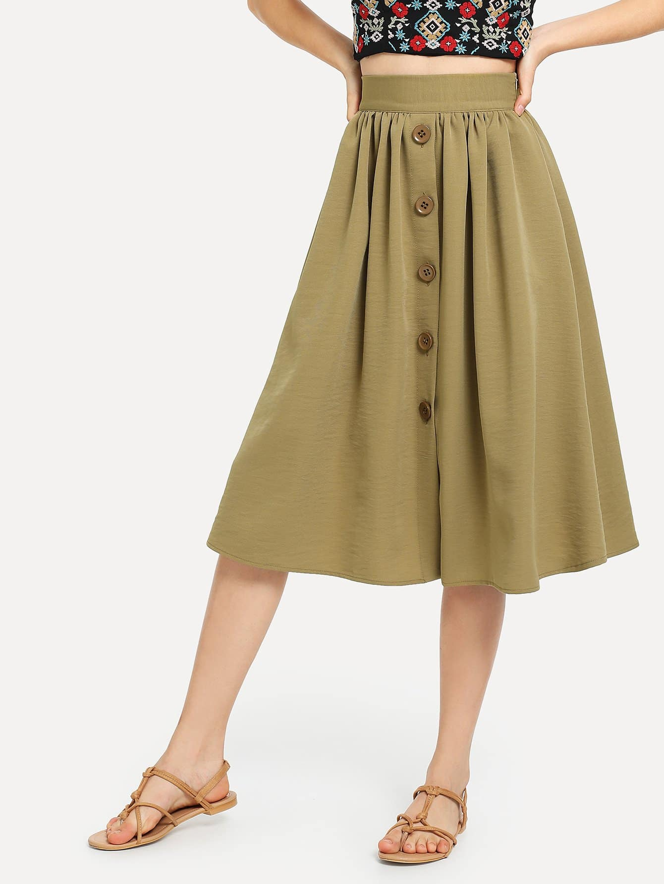 Solid Button Through Skirt