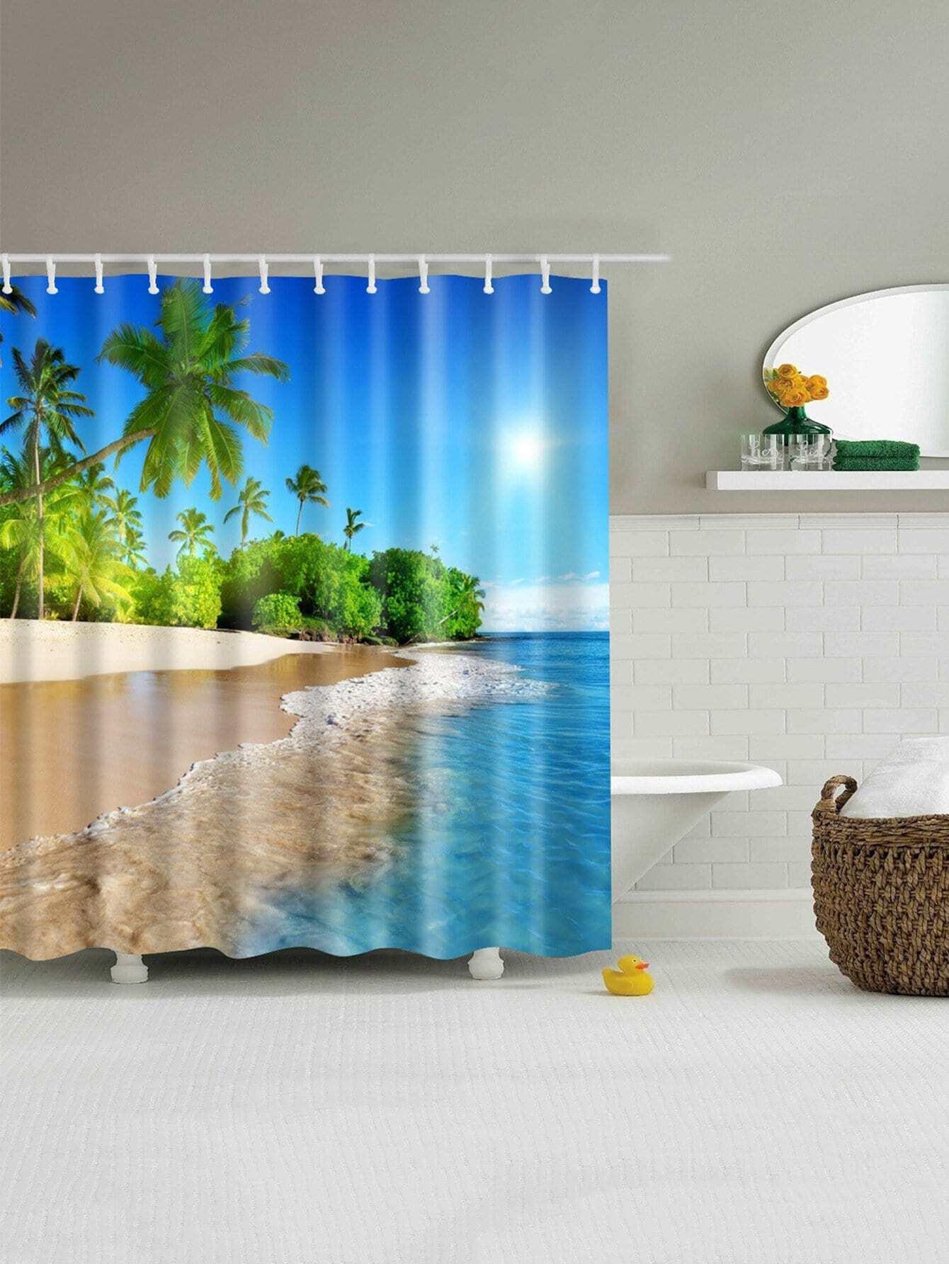 Sandbeach Shower Curtain With Hook 12pcs geometric shower curtain with 12pcs hook