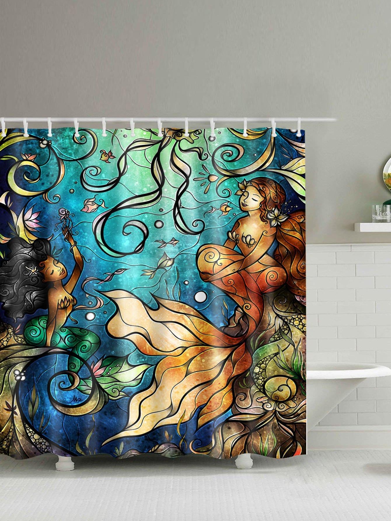 Mermaid Shower Curtain With Hook 12pcs geometric shower curtain with 12pcs hook