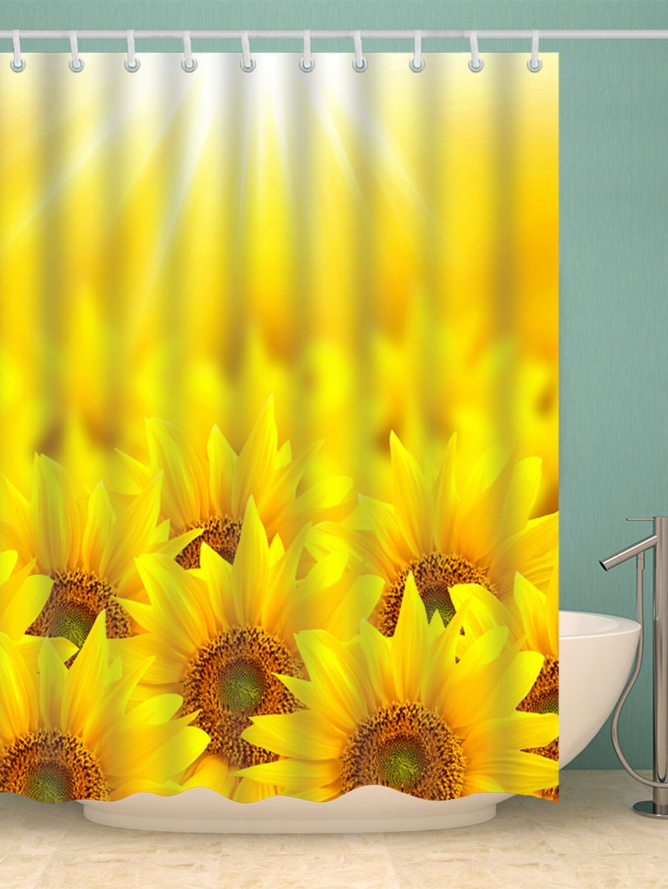 Sunflower Shower Curtain With Hook 12pcs geometric shower curtain with 12pcs hook