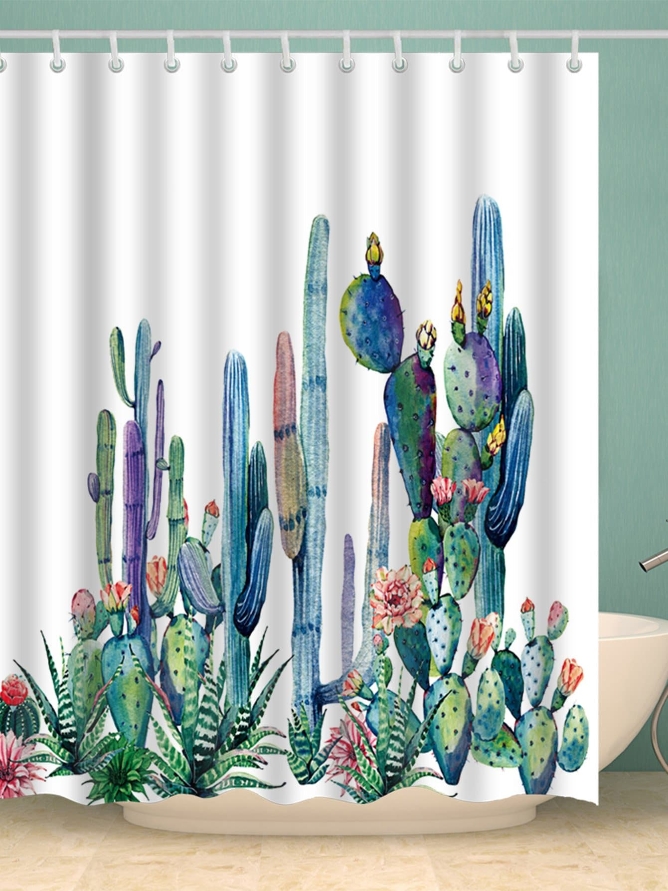 Cactus Shower Curtain With Hook 12pcs geometric shower curtain with 12pcs hook