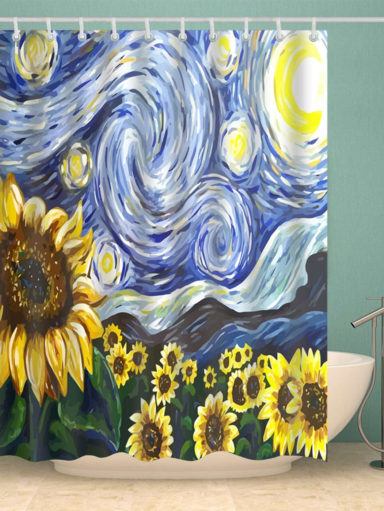 Sunflower Shower Curtain With Hook 12pcs total 12pcs filters