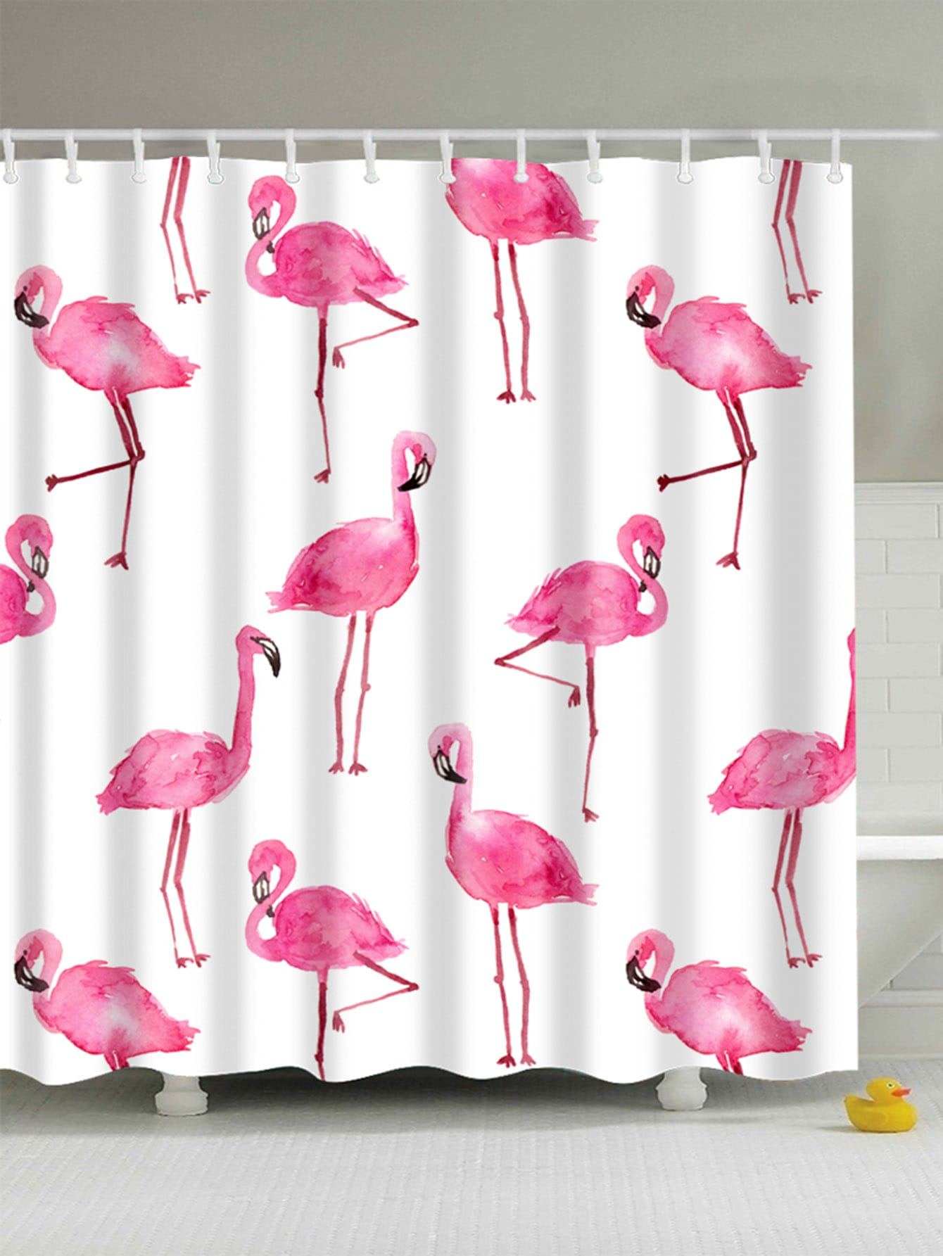 Flamingo Shower Curtain With Hook 12pcs total 12pcs filters