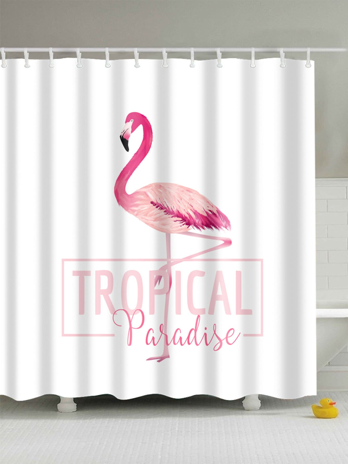 Flamingo Shower Curtain With Hook 12pcs flamingo floral waterproof shower curtain
