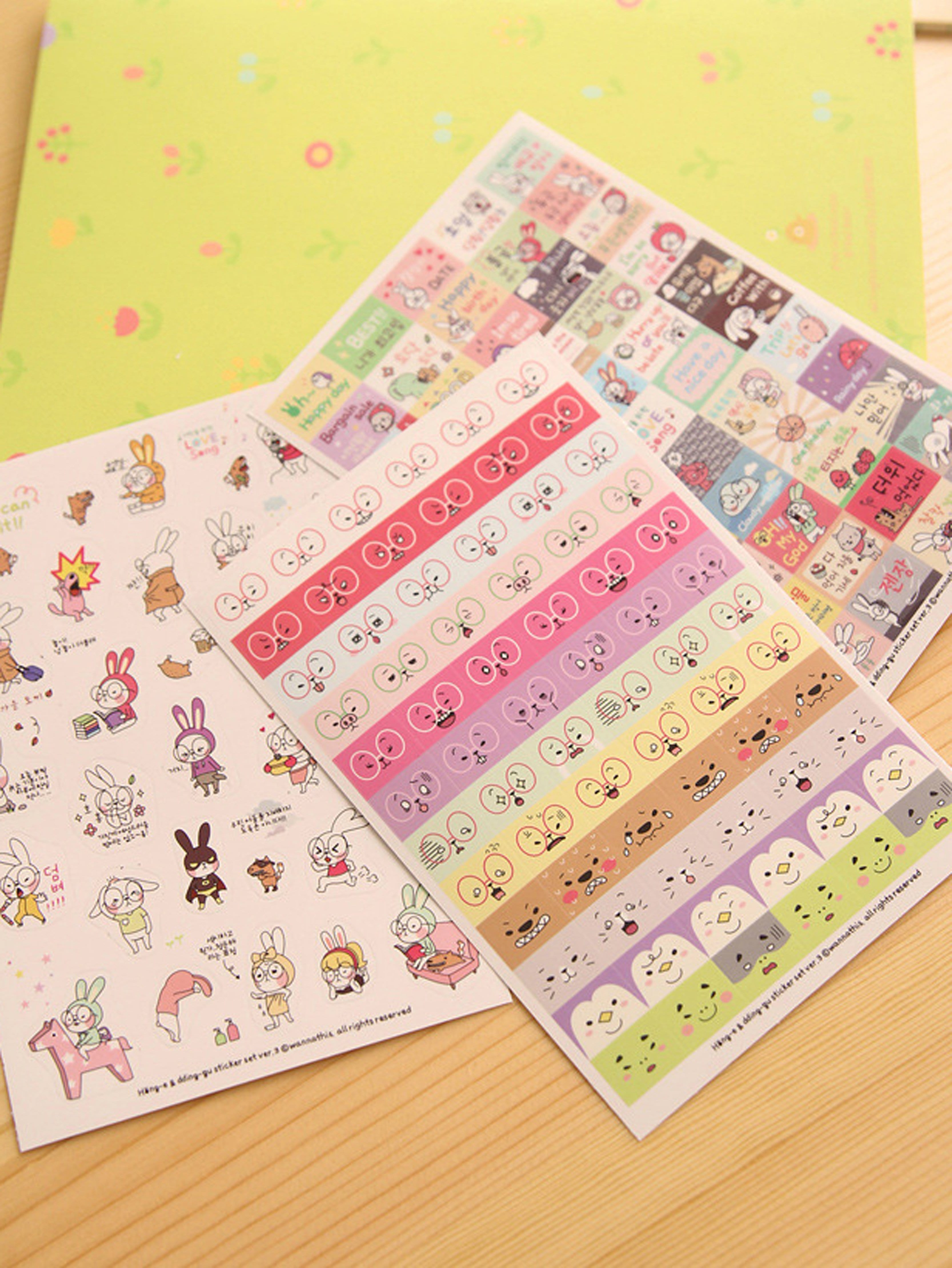 Cartoon Sticker Pack 6sheets 45 pcs pack animal blue whale fish mini paper sticker diary decoration diy scrapbooking label seal sticker stationery