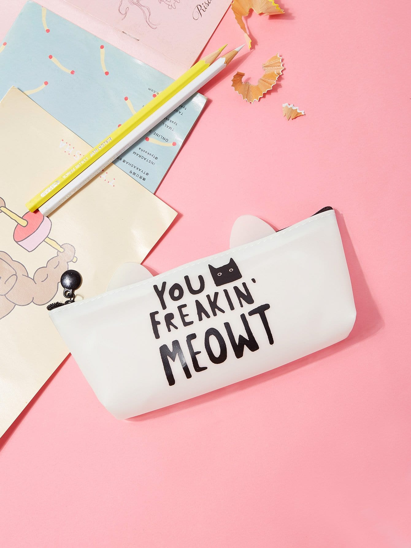 Slogan Print Pencil Case strawberry print pencil case