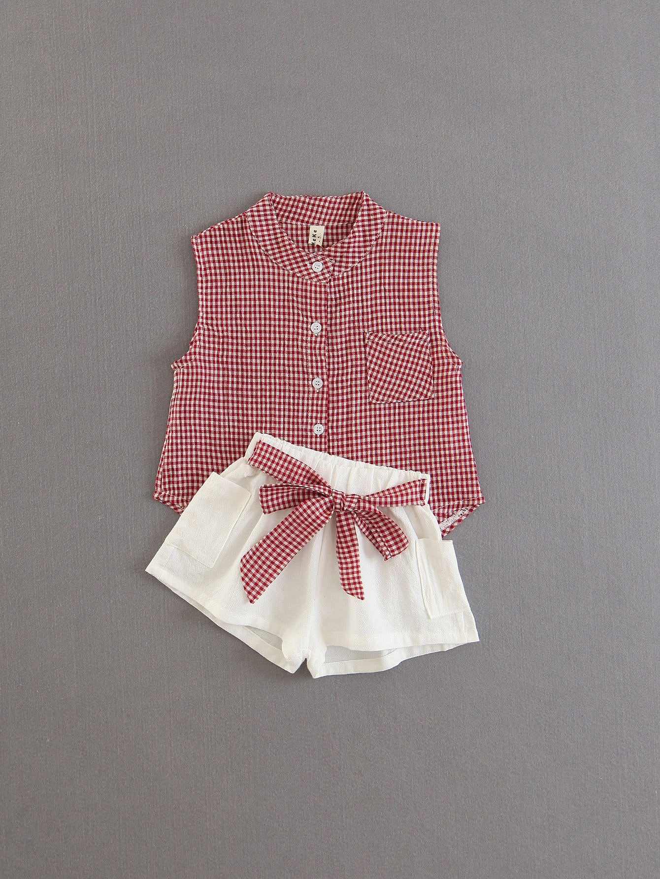 Gingham Blouse With Shorts все цены