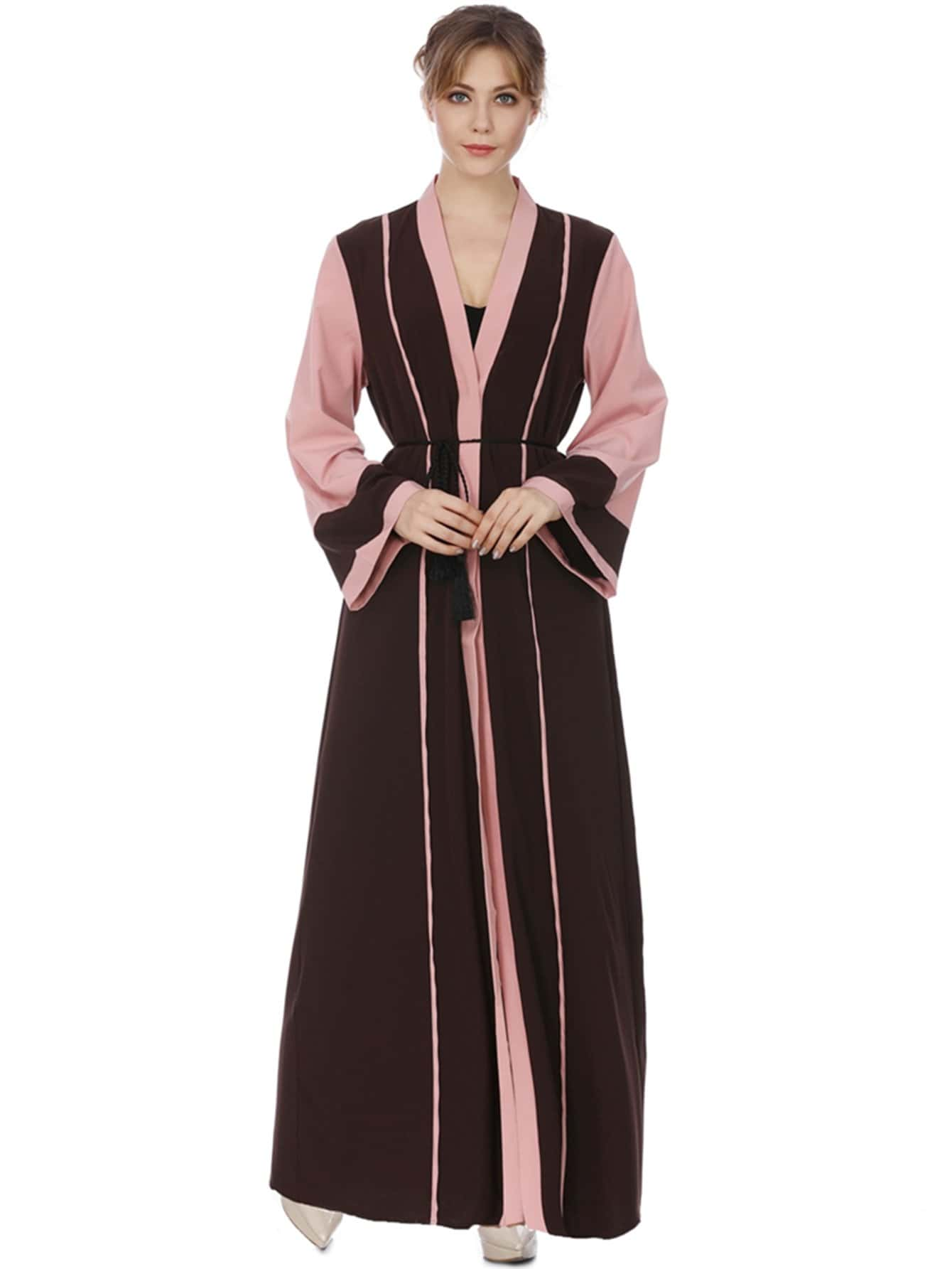 Color Block Tie Waist Abaya уголки d57 ford explorer 2012