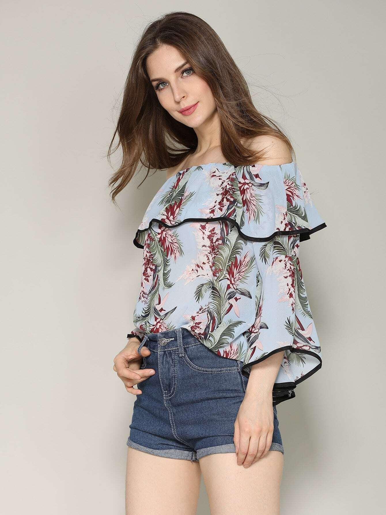 Floral Print Off Shoulder Ruffle Top fashionable floral print off the shoulder ruffle top for women