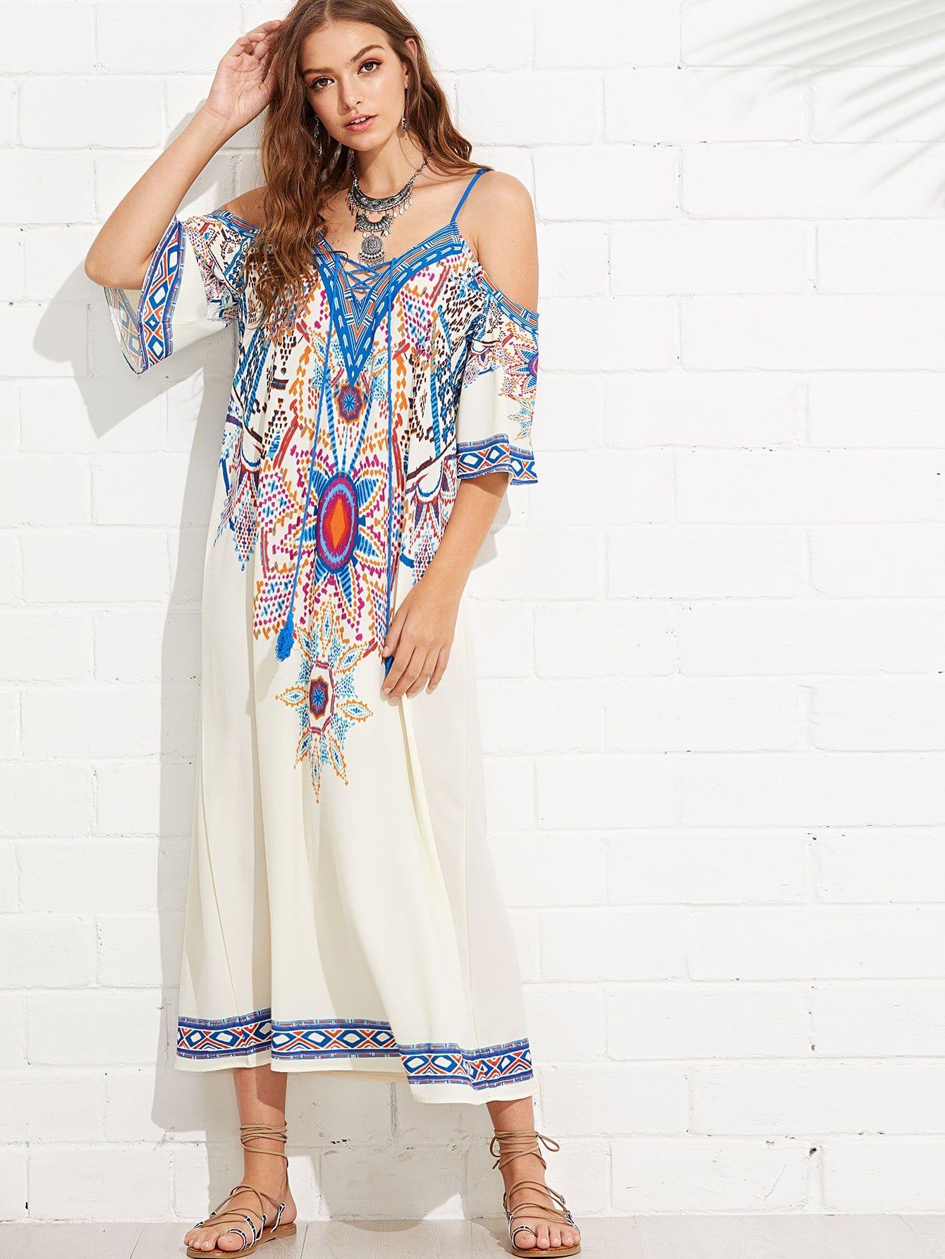 Купить Платье для печати с открытым плечом, Luiza, SheIn