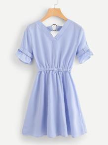 Double Plunge Ruffle Stripe Dress