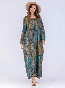 Tree Print Hidden Pocket Longline Dress