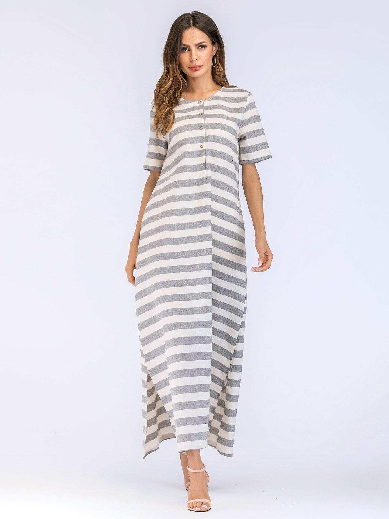 Split Side Hidden Pocket Stripe Dress kangaroo pocket split side dress