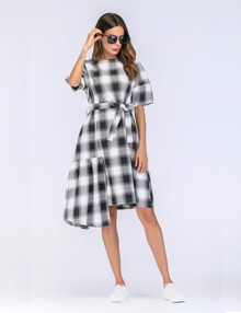 Tartan Plaid Ruffle Contrast Tie Waist Dress