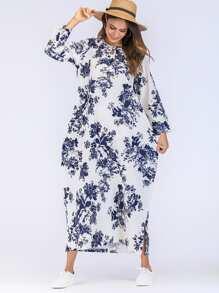 Floral Print Hidden Pocket Longline Dress