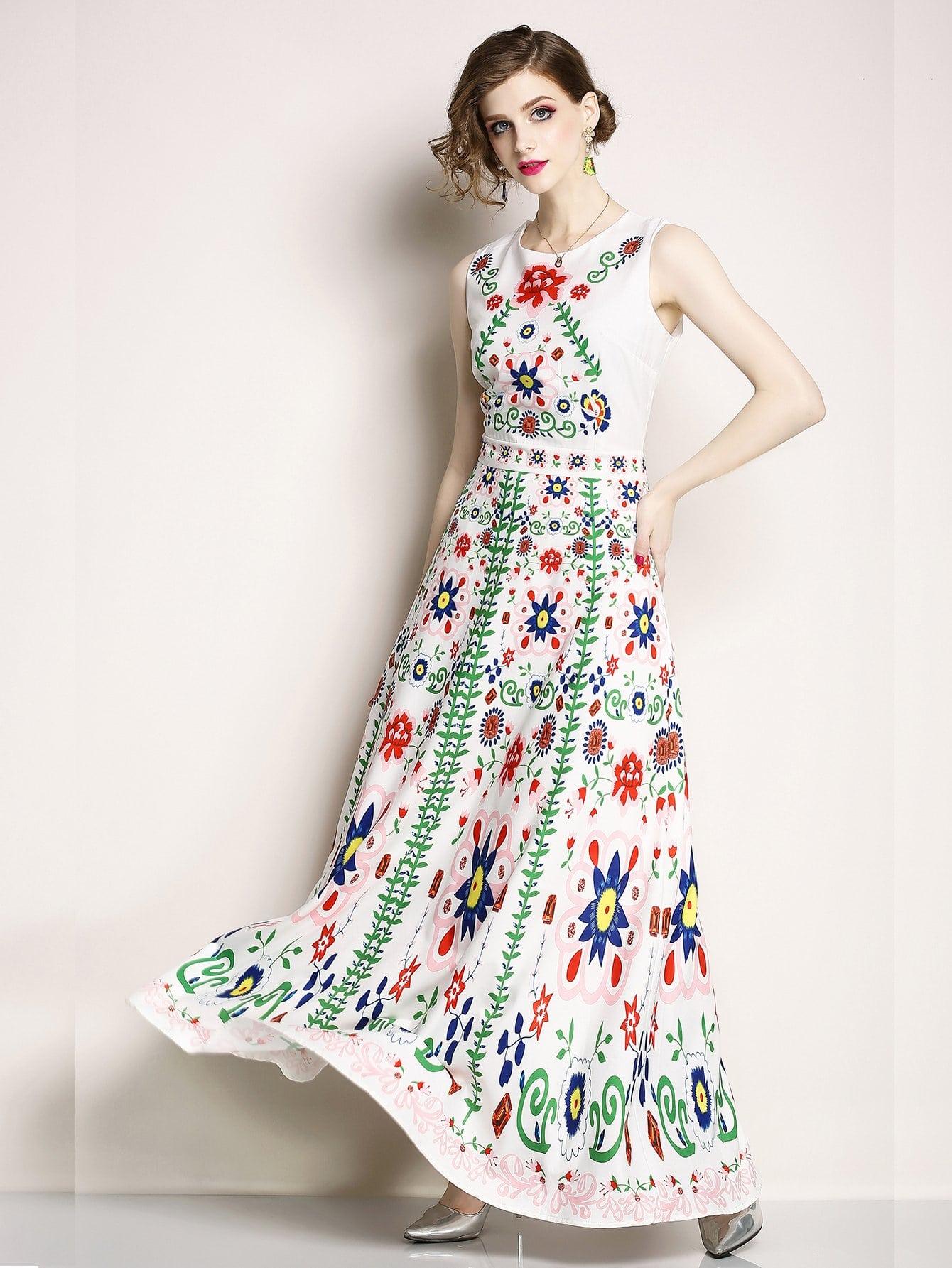 Купить Цветочная печать Ярусовое платье, null, SheIn